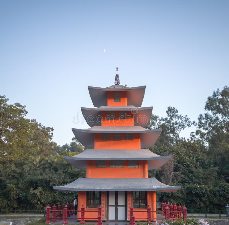 Chandigarh, India; November 5, 2019: Pagoda Tower, Beauty of Japanese garden in chandigarh. An evening view pagoda tower at Japanese garden, Chandigarh, India royalty free stock photography