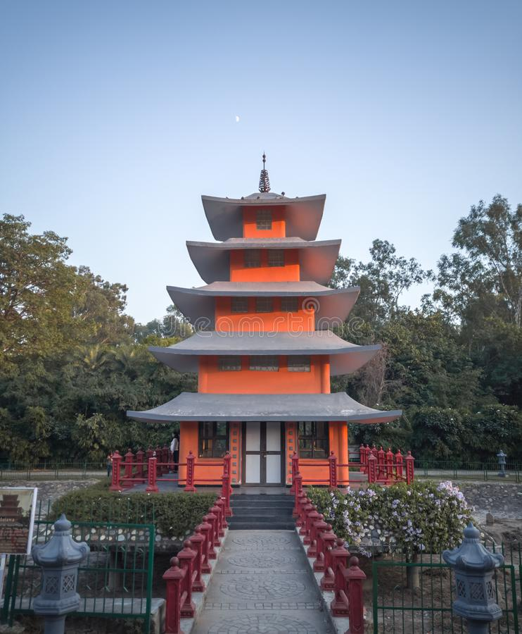 Chandigarh, India; November 5, 2019: Pagoda Tower, Beauty of Japanese garden in Chandigarh. A beautiful pagoda tower at Japanese garden, Chandigarh, India royalty free stock images