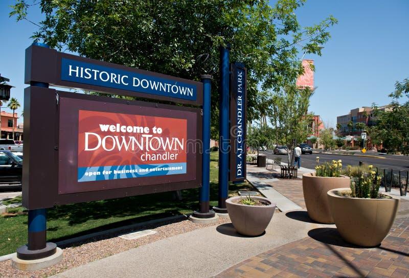 Chandler Arizona. CHANDLER, AZ - APRIL 15, 2012: View of the main road and sign welcoming tourists to Historic Downtown Chandler Arizona, USA stock photo