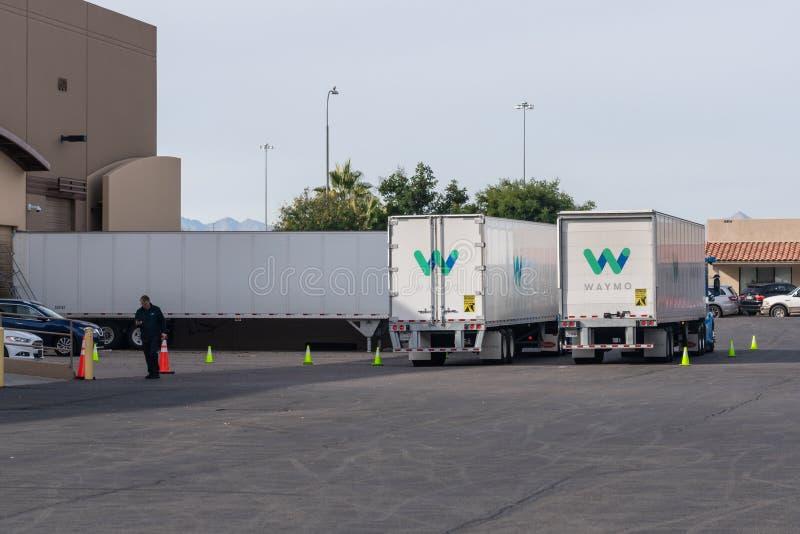 Waymo trucks at the Chandler depot. Chandler, AZ - Dec. 2, 2019: Waymo trucks at the Chandler depot royalty free stock photography