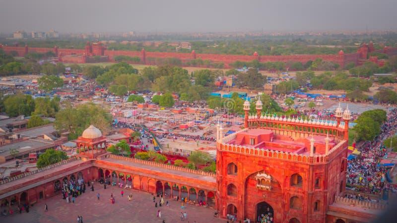 Chandni Chowk i Czerwony fortu widok z lotu ptaka od Jama Masjid meczetu w Starym Delhi, India obraz royalty free