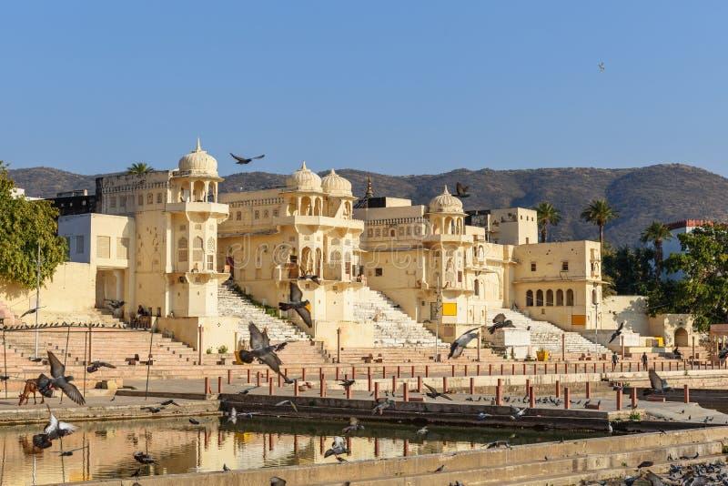 Chandra Ghat przy Pushkar jeziorem w Rajasthan indu fotografia stock