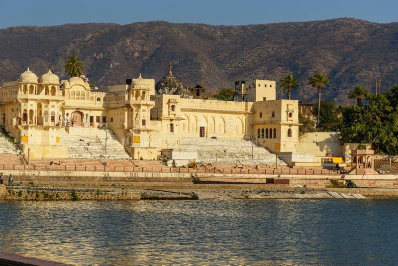 Chandra Ghat przy Pushkar jeziorem w Rajasthan indu obrazy stock