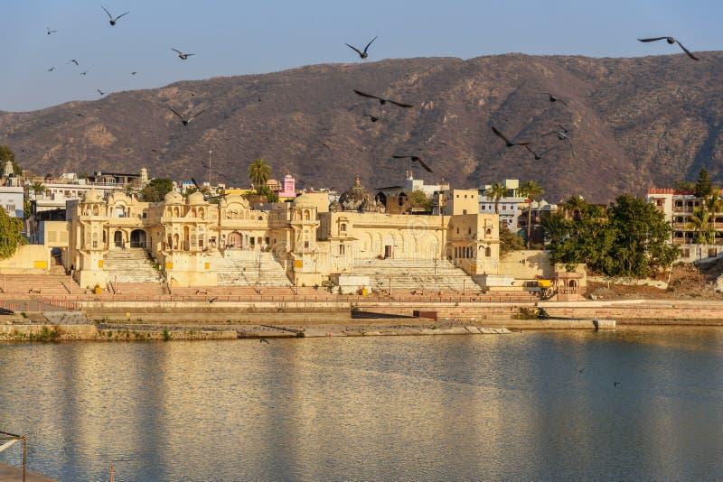Chandra Ghat przy Pushkar jeziorem w Rajasthan indu zdjęcia royalty free