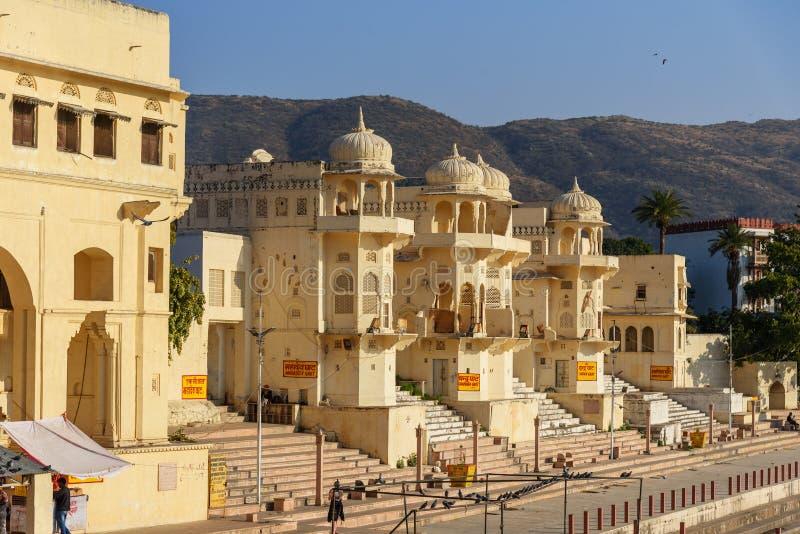 Chandra Ghat przy Pushkar jeziorem w Rajasthan indu fotografia royalty free