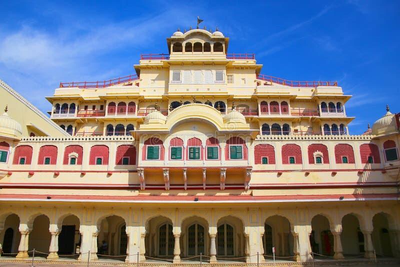 Chandra Mahal seen from Pitam Niwas Chowk, Jaipur City Palace, R royalty free stock photography