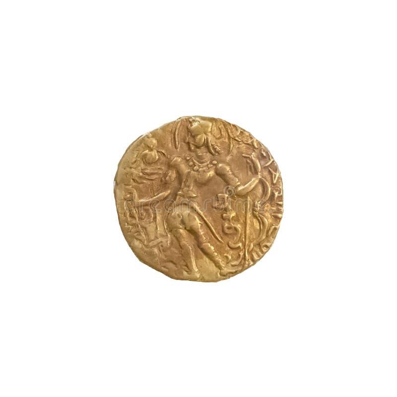 Chandragupta II Vikramaditya Złocista moneta Antyczny India fotografia royalty free