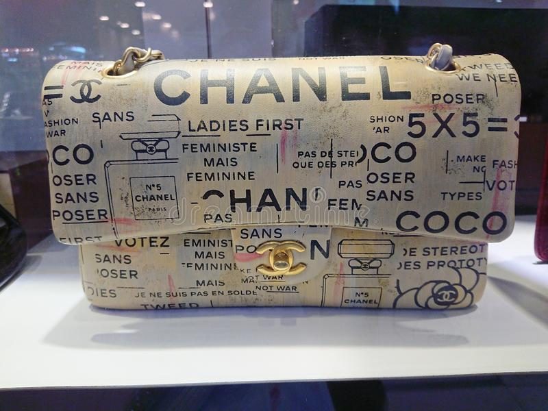 Chanel bags. On display at a pre-own reseller store in Singapore stock photography