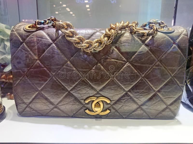 Chanel bags. On display at a pre-own reseller store in Singapore stock image