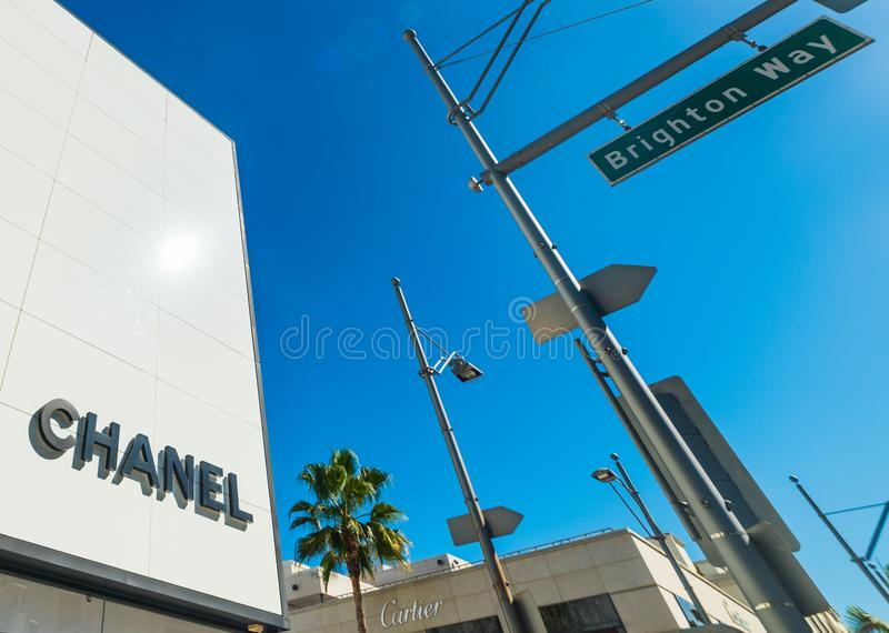 Chanel and Cartier signs in Rodeo Drive in Beverly Hills royalty free stock photo