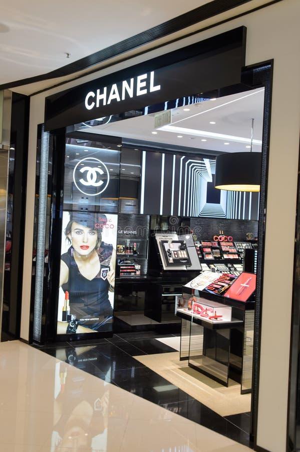 Chanel cosmetics boutique interior stock photography
