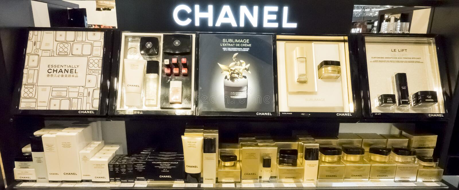 Chanel french luxury brand perfume in duty free store shelf stock images