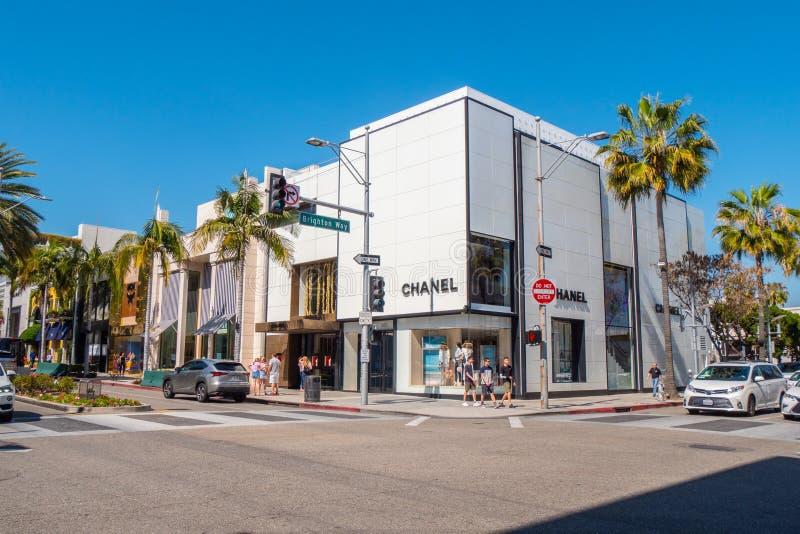 Chanel lager p? Rodeo Drive i Beverly Hills - Kalifornien, USA - mars 18, 2019 royaltyfri bild