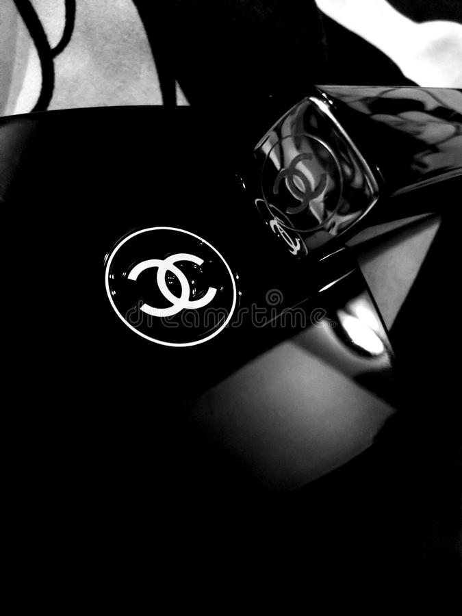 Chanel logo abstract - Mobile phone photography. Black and white Channel logo abstract - Mobile phone photography stock image