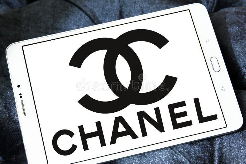 Chanel logo. Logo of fashion company chanel on samsung tablet stock photography