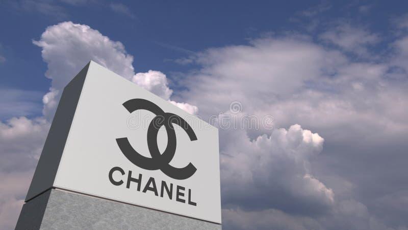 CHANEL logo mot himmelbakgrund, redaktörs- tolkning 3D royaltyfri illustrationer