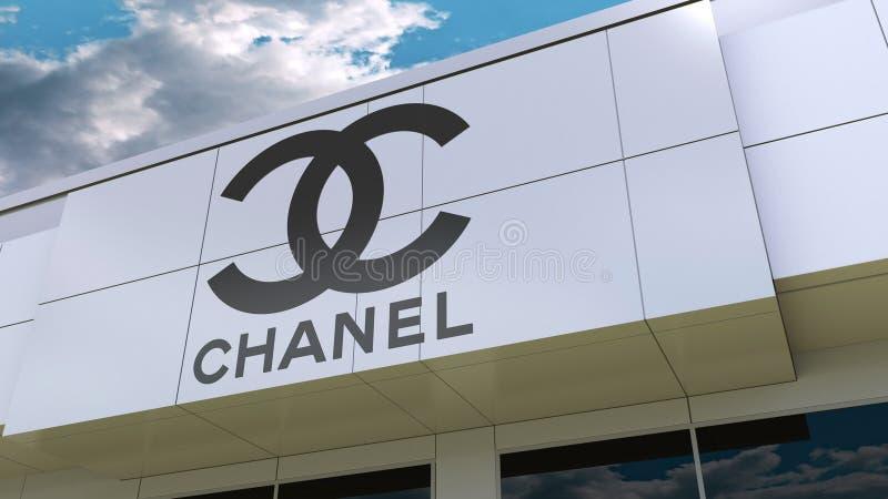 Chanel logo på den moderna byggnadsfasaden Redaktörs- tolkning 3D stock illustrationer
