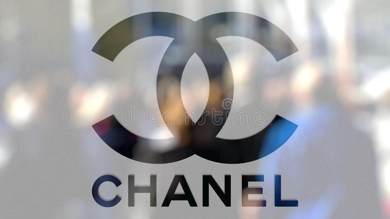 Chanel logo på ett exponeringsglas mot den suddiga folkmassan på steeten Redaktörs- tolkning 3D vektor illustrationer