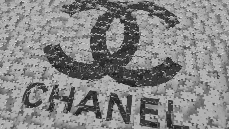 CHANEL logo som komponerar med pusselstycken, redaktörs- tolkning 3D stock illustrationer