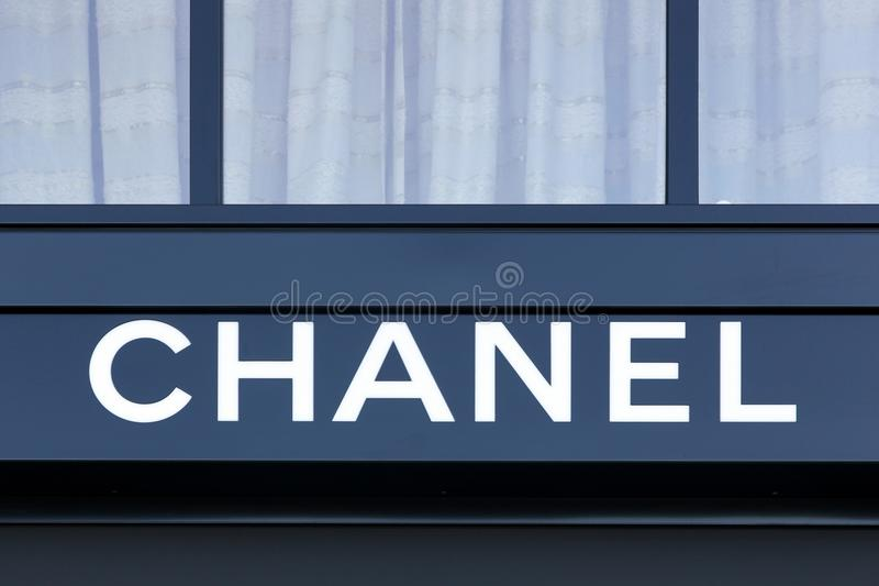 Chanel logo on a wall royalty free stock photo