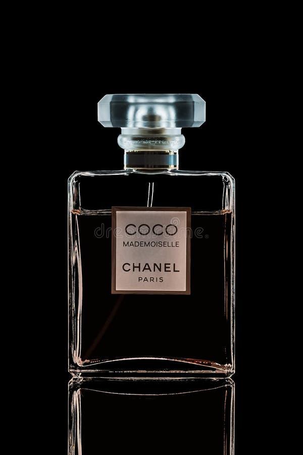 Chanel perfume bottle isolated on black background. 2019-01-22 Samara royalty free stock images