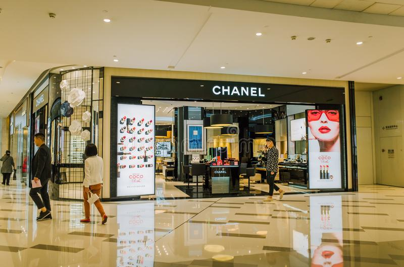Chanel préparent le magasin de détail à Chengdu images libres de droits