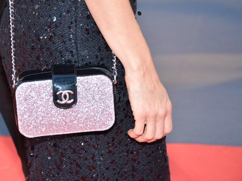 Chanel purse on the red carpet at KINGS premiere at toronto international film festival. Director Deniz Gamze Erguven with Chanel purse arrive to the `Kings` royalty free stock photos