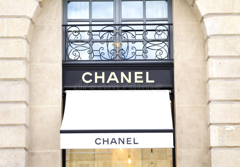 Chanel shop. In place Vendome in Paris. Chanel is a fashion house founded in 1909 specialized in haute couture and luxury goods stock images