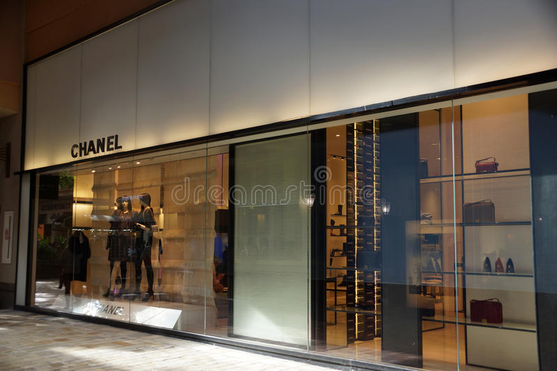 Chanel store at the Ala Moana Center. HONOLULU - AUGUST 7, 2014: : Chanel store at the Ala Moana Center, Chanel is one of many luxury brands fashion company with royalty free stock photos