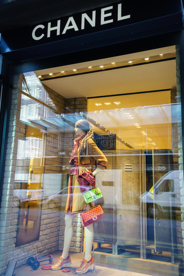 Chanel store. In central Geneva, Switzeland. Chanel S.A. is a Parisian fashion house founded by the late couturier Gabrielle Coco Chanel, recognized as one of royalty free stock image