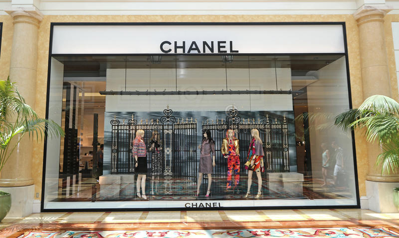 Chanel store front. In a shopping center in Las Vegas stock images