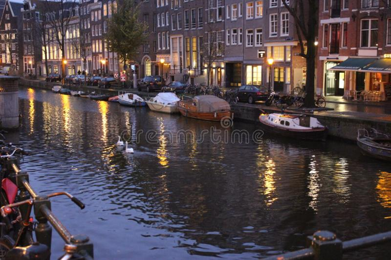 Chanel water Amsterdam Nederland evening royalty free stock image