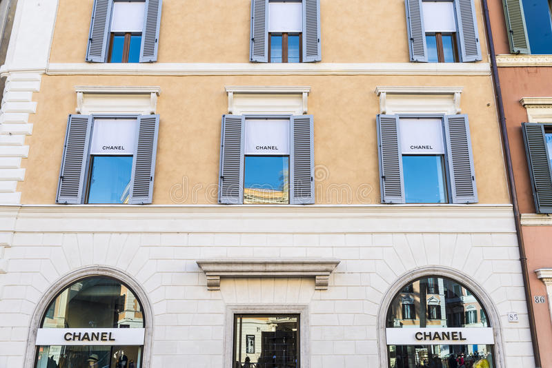 Chanel-winkel in Rome, Italië stock foto's