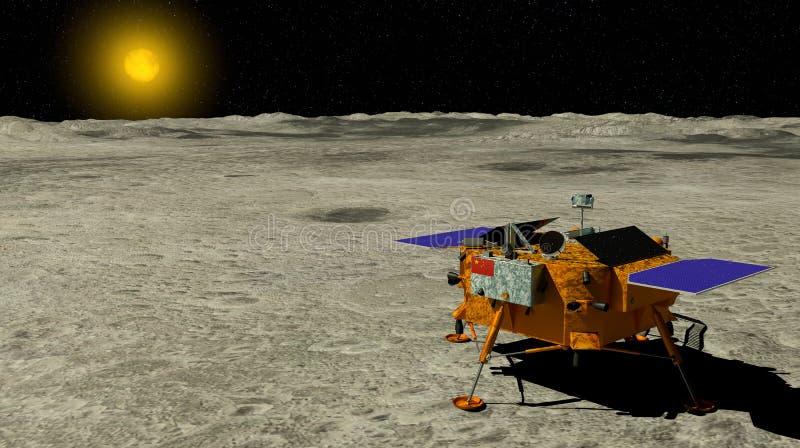 Chang ε 4 της Κίνας σεληνιακός έλεγχος προσγειώθηκε στην επιφάνεια του φεγγαριού με τον ήλιο στο υπόβαθρο τρισδιάστατη απεικόνιση απεικόνιση αποθεμάτων