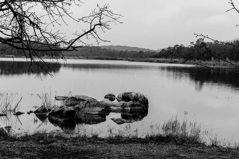 Chang Hu Lake @ Kunming, Yunnan, China. Black and White shot of Chang Hu Lake @ Kunming, Yunnan, China stock photos