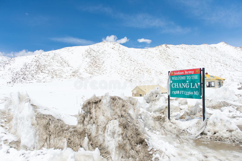 Chang La Pass, the third highest driveable mountain pass in the world 5300m. Above sea level, Ladakh, J&K, India royalty free stock image
