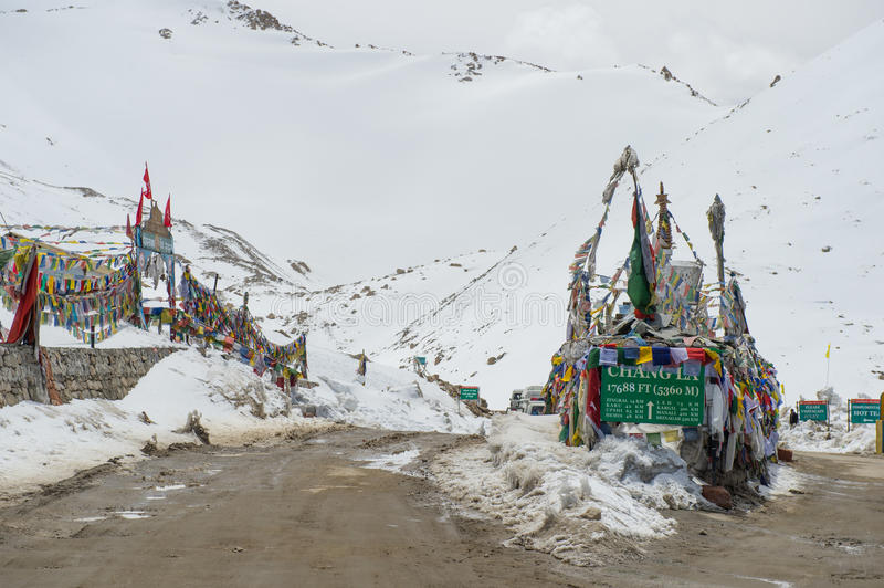 Chang La Pass, the third highest driveable mountain pass in the world 5300m. Above sea level, Ladakh, J&K, India stock photography