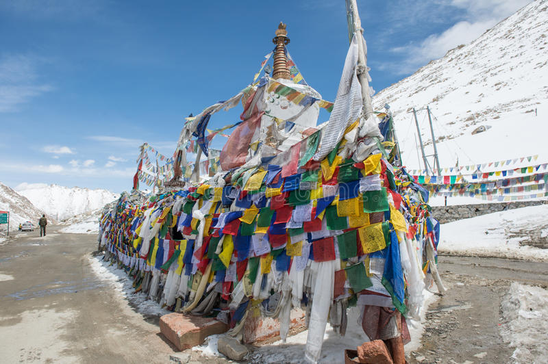 Chang La Pass, the third highest driveable mountain pass in the world 5300m. Above sea level, Ladakh, J&K, India stock image