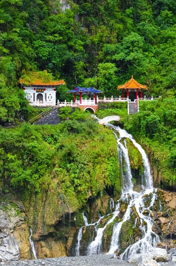 Changchun świątynia, punkt zwrotny i pamiątkowy świątynia kompleks w Taroko parku narodowym w Tajwan, Zabytek lokalizuje dobrze n obraz stock