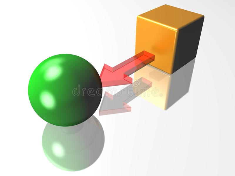 Change. 3D representation of a cube converted into a sphere, representing notions such as conversion, transformation, processing, change, formating and education stock illustration