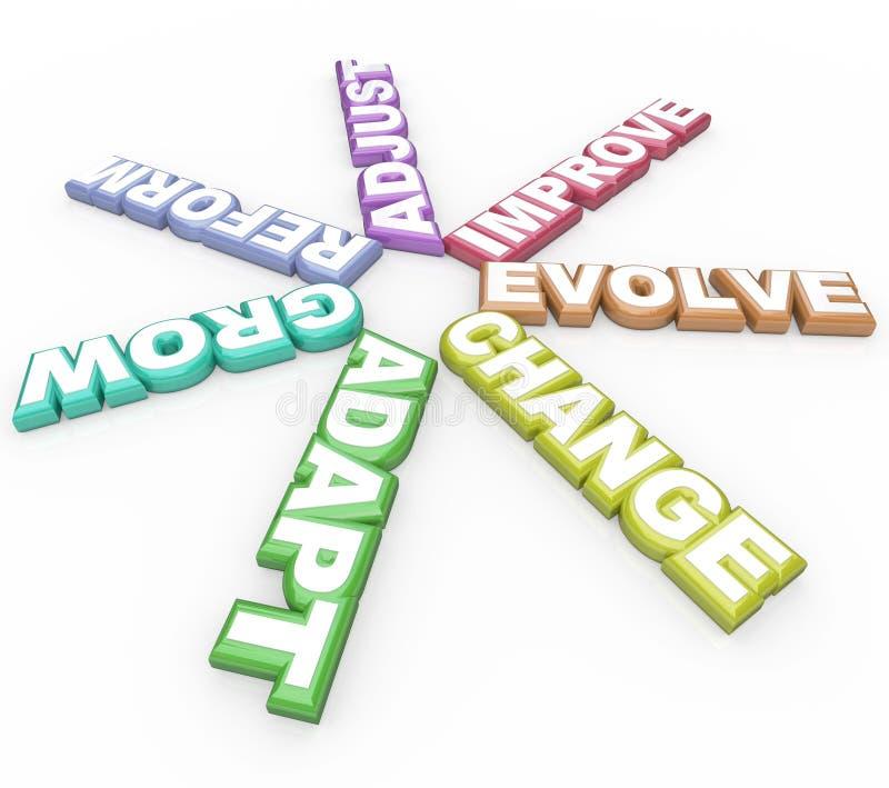 Change Adapt Evolve 3D Words On White Background Stock ...