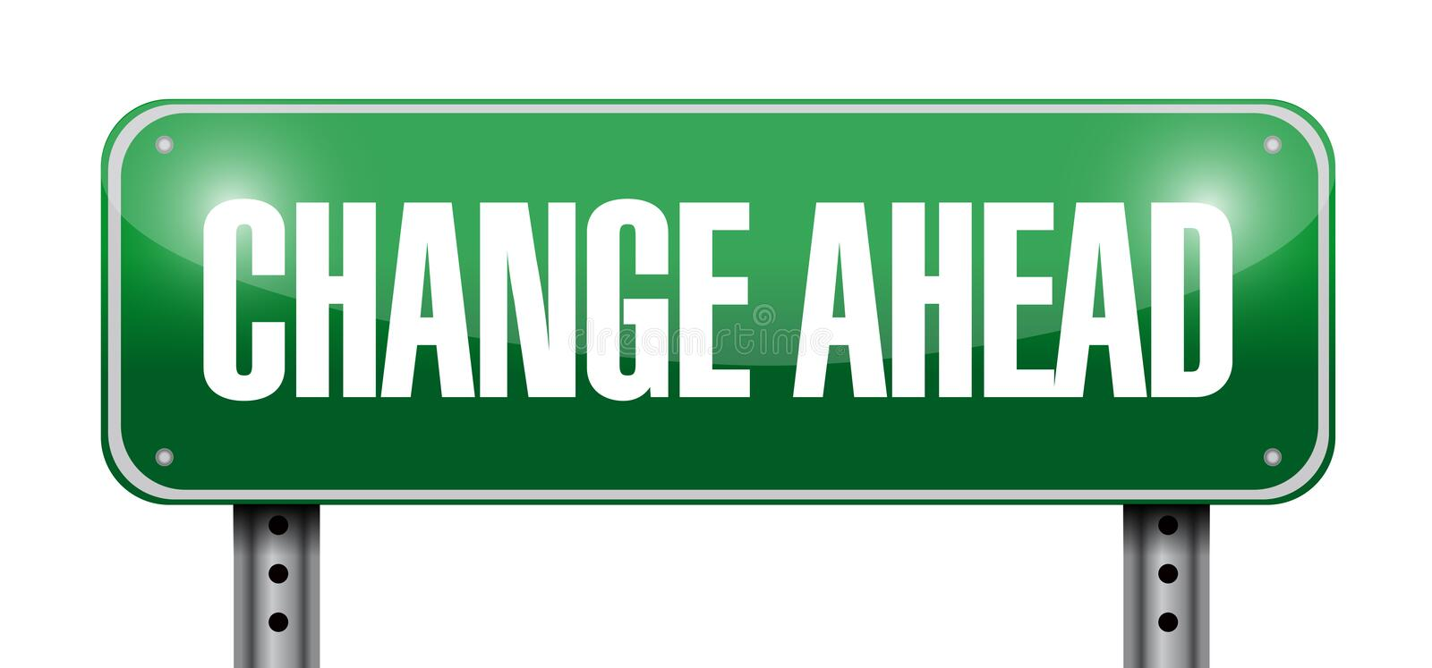Change ahead road sign illustration design. Over a white background royalty free illustration