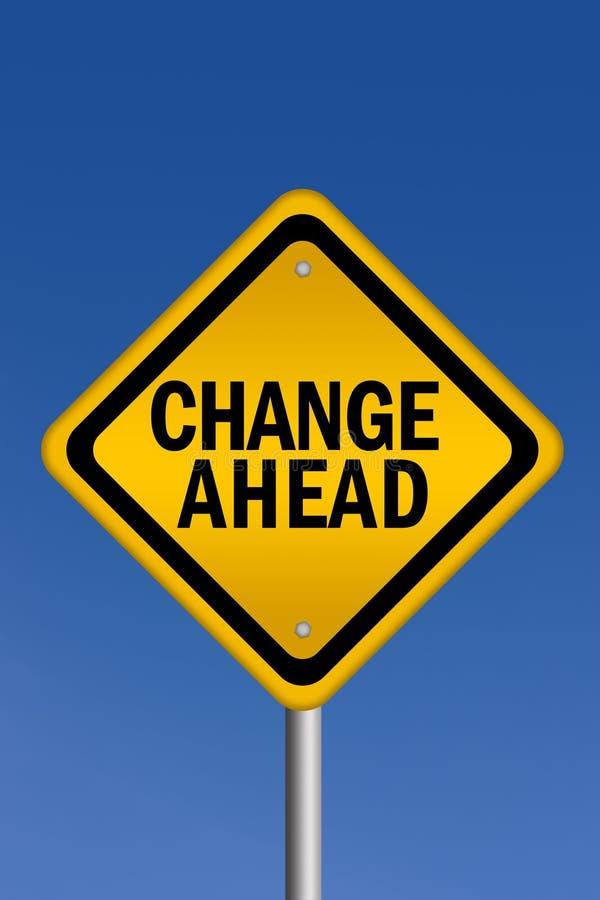 Change ahead sign. Over blue sky vector illustration