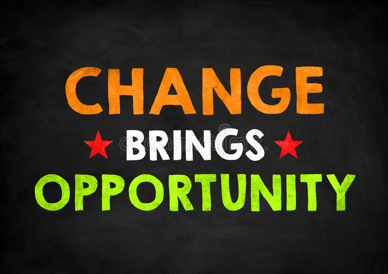 Change brings opportunity. Chalkboad concept royalty free stock photos