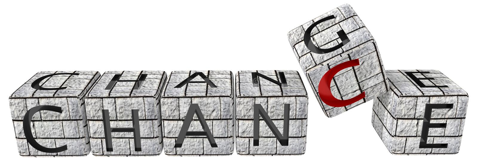 Change chance wall  dice  red text - 3d rendering stock illustration
