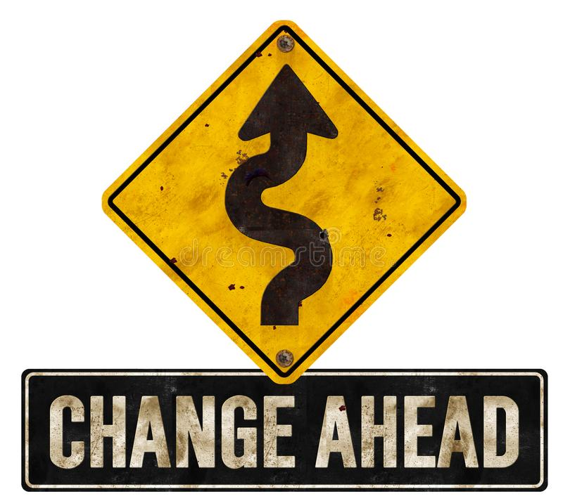 Change Changes Ahead Sign Detour Road Arrow. Grunge Corporate Future Logo Art Isolated royalty free stock photography