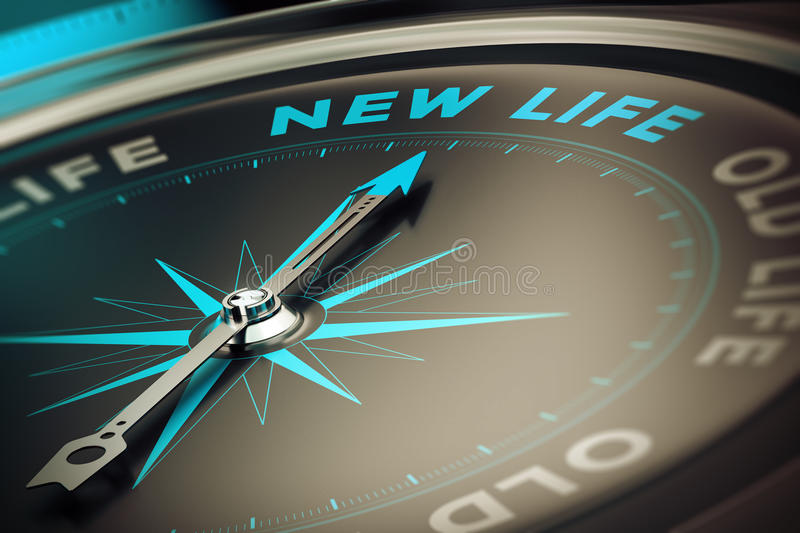 Change. Compass with needle pointing the word new life, concept image to illustrate change motivation concept royalty free illustration