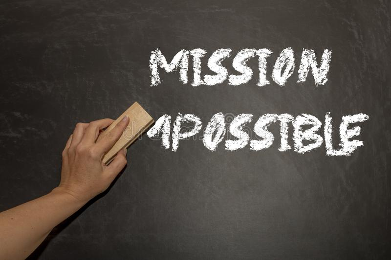 Change concept. Changing the word impossible to possible with a stock images