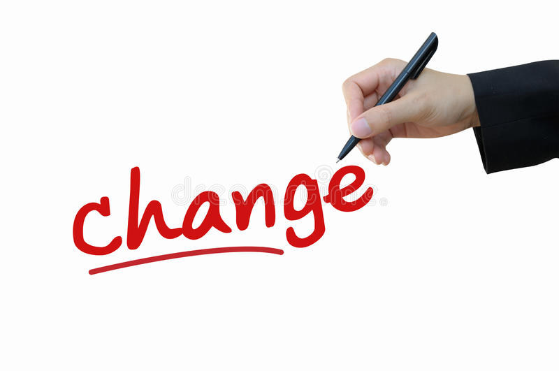 Change, create business opportunity concept. Business hand writing change for business opportunity concept royalty free stock photos