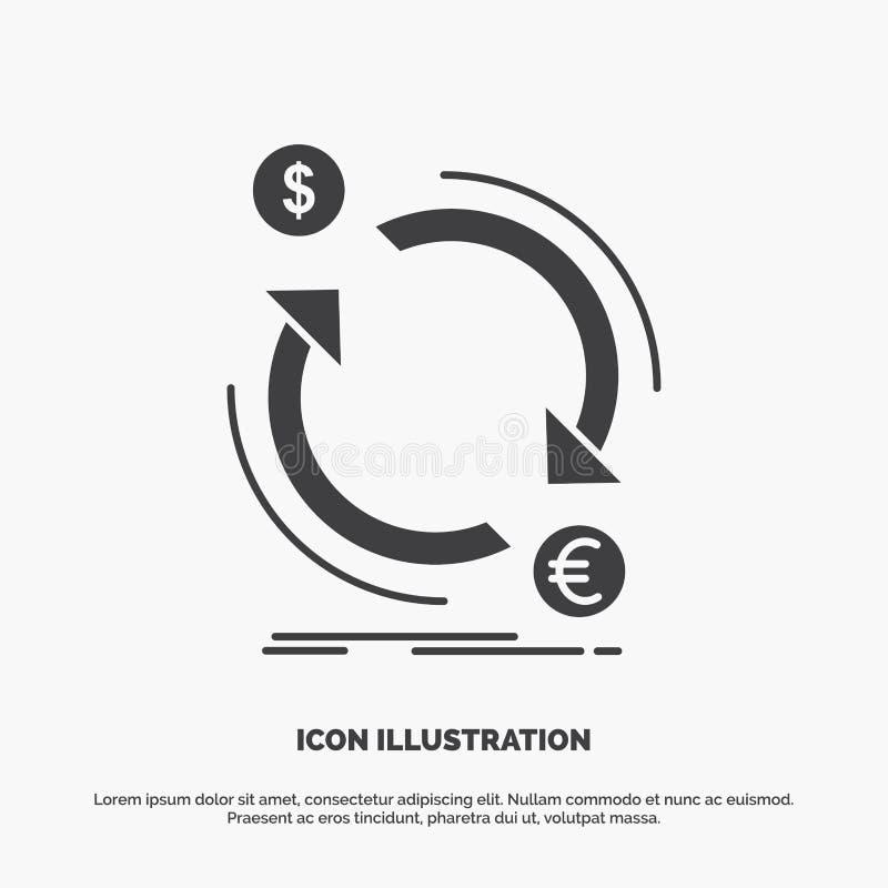 ?change, devise, finances, argent, ic?ne de converti symbole gris de vecteur de glyph pour UI et UX, site Web ou application mobi illustration stock